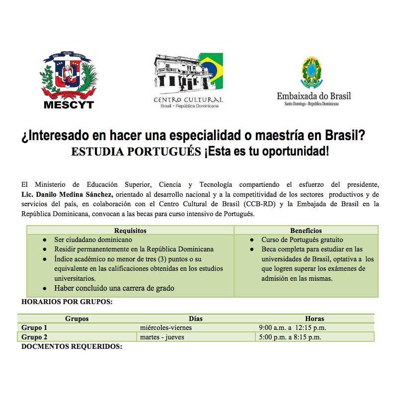MESCyT: Curso de Portugués 2017 y Becas para Especialidad o Maestría ...