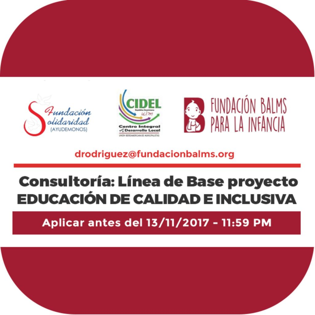 """Consultoría: Línea de base del Proyecto """"Por una Educación de ..."""