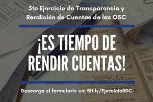 Alianza ONG lanzará el Quinto Ejercicio de Transparencia y Rendición de Cuentas para OSCs